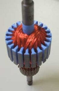 Motor rotor section with powder coating
